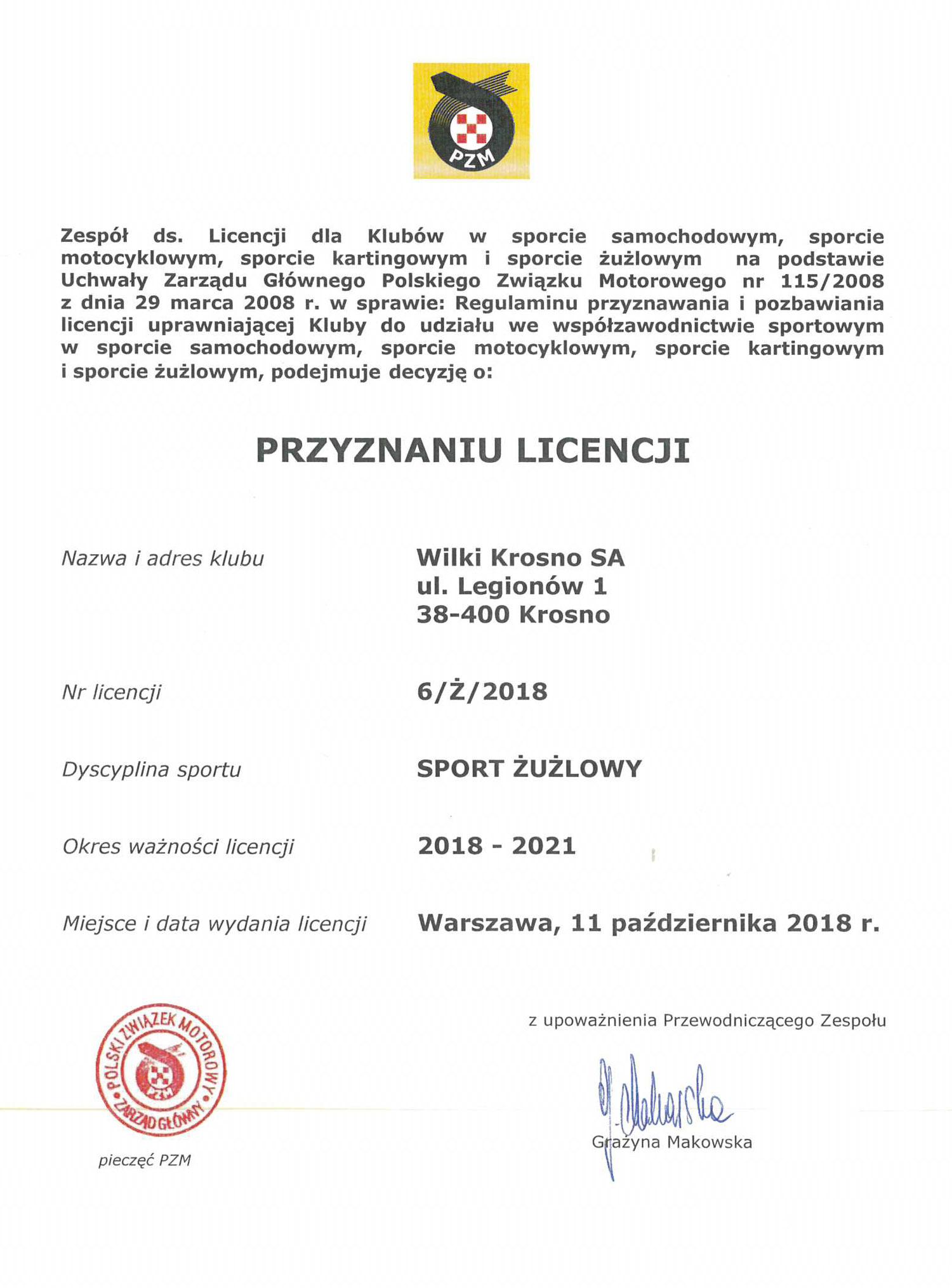 Licencja PZM Wilki Krosno SA