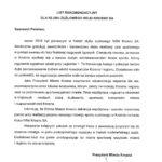 List Prezydent Piotr Przytocki